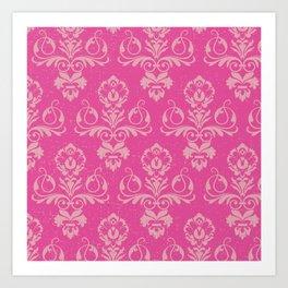 Pink Vintage Damask Art Print