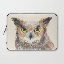 Owl Great Horned Owl Watercolor Laptop Sleeve