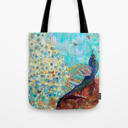 Peacock Paparazzi, peacock mixed media collage painting Tote Bag