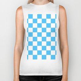 Cheerful Blue Checkerboard Pattern Biker Tank