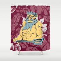 aquarius Shower Curtains featuring Aquarius by jenapaul