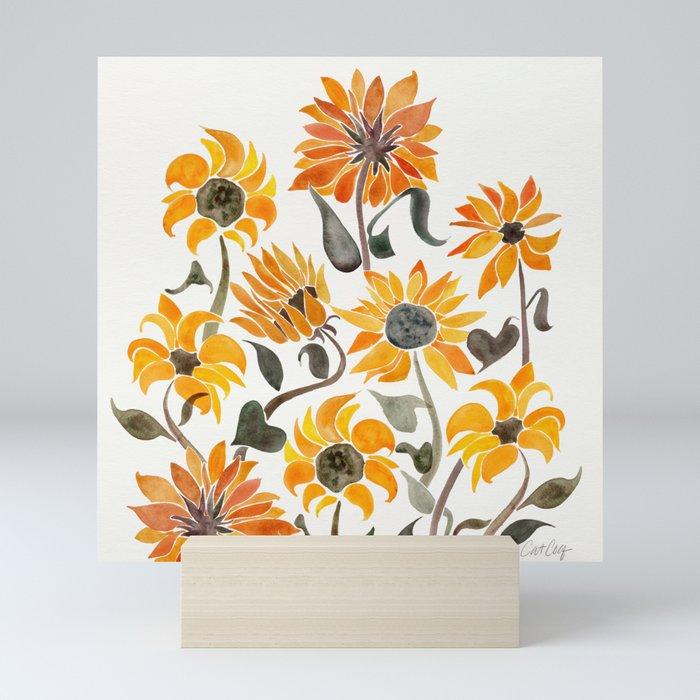 Sunflower Watercolor – Yellow & Black Palette Mini Art Print