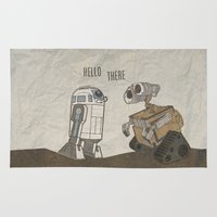 wall e Area & Throw Rugs featuring R2D2 and Wall E by Victoria Schiariti
