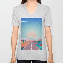 Summer Road trip to Rocky Mountains Adventures in Nature, car blue sky land airplane rural landscape Unisex V-Neck