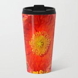 ORNATE YELLOW-RED POPPIES GARDEN  YELLOW ART Travel Mug