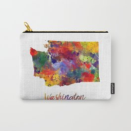Washington State Map Colorful Watercolor USA Map Art With State Name Washington DC Map USA Art Carry-All Pouch
