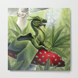 Smoking Dragon in Cannabis Leaves Metal Print