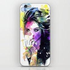 Milla fashion portrait girl watercolor tye and dye face iPhone & iPod Skin