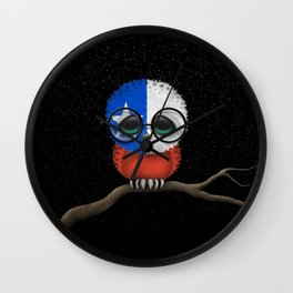 Baby Owl with Glasses and Chilean Flag Wall Clock