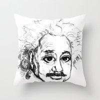 chibi Throw Pillows featuring Chibi Einstein by Hazel Bellhop