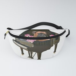 Piano - Boxer Dog - Lotos Flower Blossoms Fanny Pack