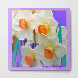 WHITE-GOLD NARCISSUS FLOWERS LAVENDER GARDEN Metal Print