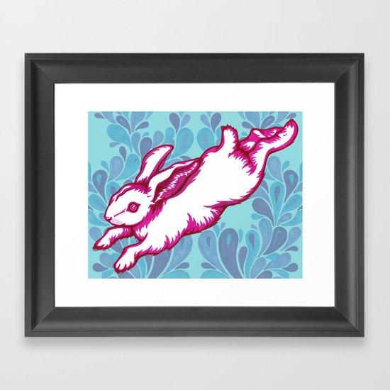 Leaping Rabbit Framed Art Print