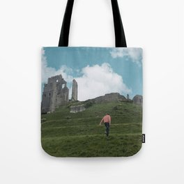 Corfe Castle and the Sky medieval Tote Bag