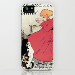 Vintage Art nouveau French milk advertising, cats, girl iPhone Case
