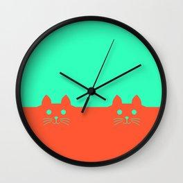 Meow Orange Turquoise Wall Clock