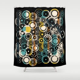 Circles Galore in Teal Shower Curtain