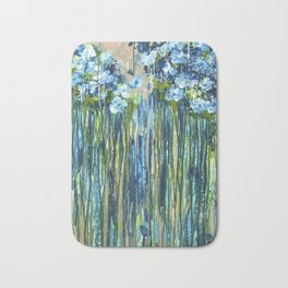 Forget me not -  Blue floral abstract Bath Mat
