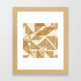 Stripe Triangle Block Print Geometric Pattern in Orange Framed Art Print