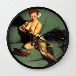 Fascination Gil Elvgren Pin Up Girl Wall Clock