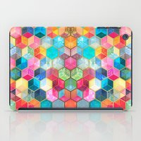 bohemian iPad Cases featuring Crystal Bohemian Honeycomb Cubes - colorful hexagon pattern  by micklyn