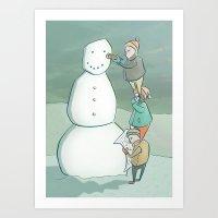 Building the Perfect Snowman Art Print