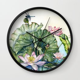 Japanese Water Lilies and Lotus Flowers Wall Clock