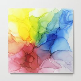 Flowing Rainbow Ink Ethereal Abstract Painting Metal Print