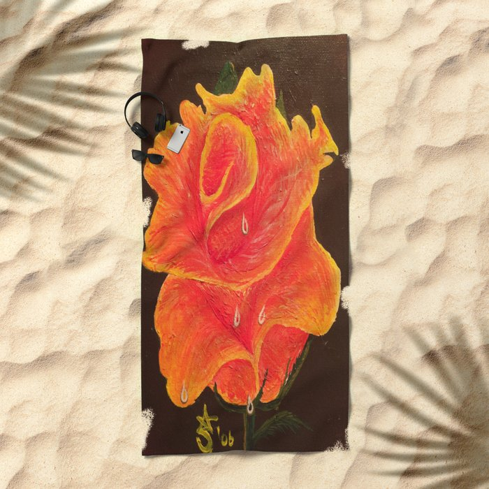 Orange Dream Rose in Acrylic Beach Towel