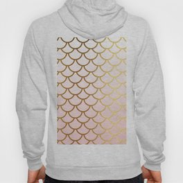 Pink Gradient And Gold Foil MermaidScales - Mermaid Scales Hoody