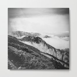 Untersberg Summit in Austria - Holga black and White Metal Print