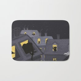 Animals in their houses at night Bath Mat
