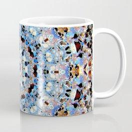 Blue Brown Folklore Texture Mandala Coffee Mug