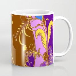 Modern Purple-Coffee Color Fantasy Scrolls & Flowers Ferns Art Coffee Mug