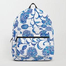 Blue Flowers on White by Fanitsa Petrou Backpack