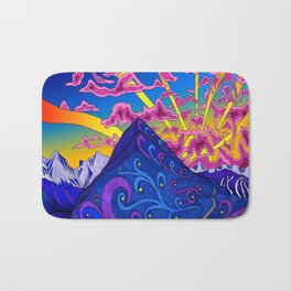 psychedelic colorful lines nature mountain trees snowy peak moon sun rays hill road artwork star sky Bath Mat