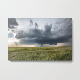 High Risk - Wide Angle View of Tornado in Kansas Metal Print