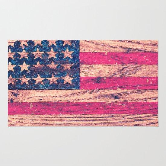 vintage pink patriotic american flag retro wood rug by