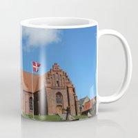 denmark Mugs featuring Vor Frue Kirke, Svendborg, Denmark by Anders Riise Koch