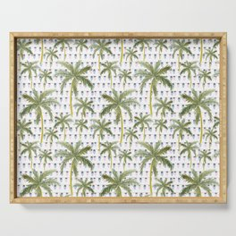 Coastal Christmas Lights and Palm Trees Serving Tray