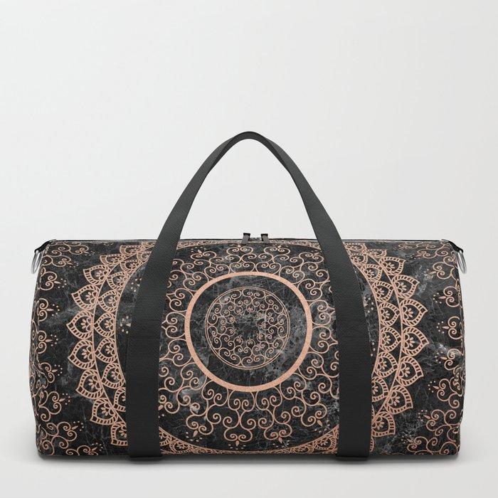 Mandala - rose gold and black marble Duffle Bag
