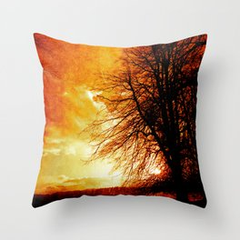 Lone tree on an English winters day  Throw Pillow