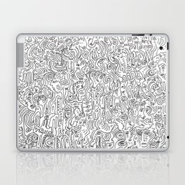 Graffiti Black and White Pattern Doodle Hand Designed Scan Laptop & iPad Skin