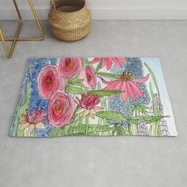 Summer Flowers Watercolor  Rug