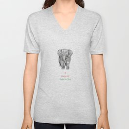 Happily Ever After: Elephant Carrying a Flower Unisex V-Neck