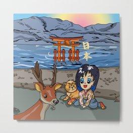 Kawaii girl on Miyajima Island Japan Metal Print
