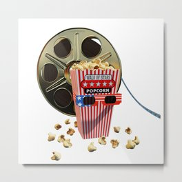 3D Movie Reel and Buttered Popcorn Metal Print