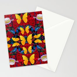RED-WHITE ROSES & YELLOW BUTTERFLIES GARDEN Stationery Cards