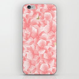 Hand painted coral white faux gold watercolor floral iPhone Skin