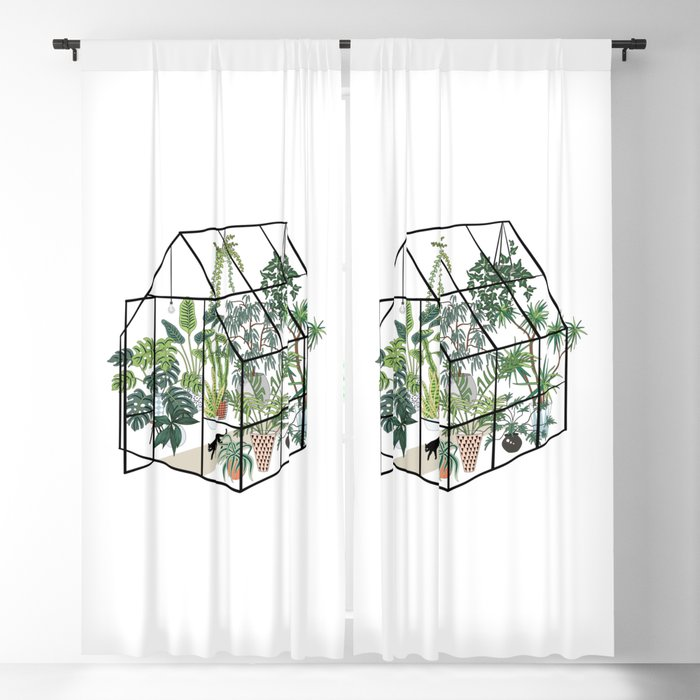 greenhouse with plants Blackout Curtain